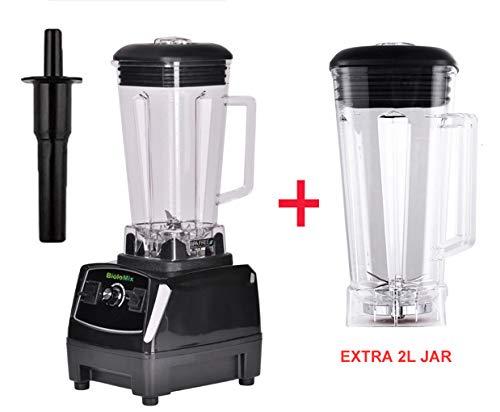 Evaxo Heavy Duty Commercial Grade Blender Mixer Juicer High Power Food Processor Ice Smoothie Bar Fruit Blender B Black extra 2L jar 10