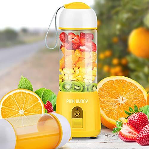 Sagton Mini Portable Blender Personal Smoothie Mini Mixer Juicer Cup 380ml Fruit Mixing Machine USB juicer cupfor OfficeSportsTrip Yellow