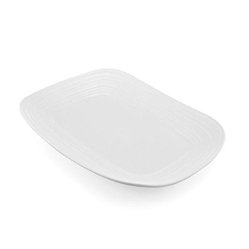 Mikasa Swirl White Square Rectangular Platter 15-Inch