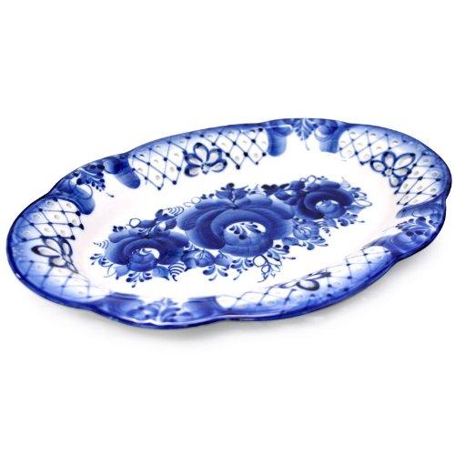 Gzhel Porcelain Bread Platter Spring