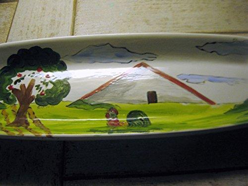 USA hand painted folk art roosterfarm scene large bread platter