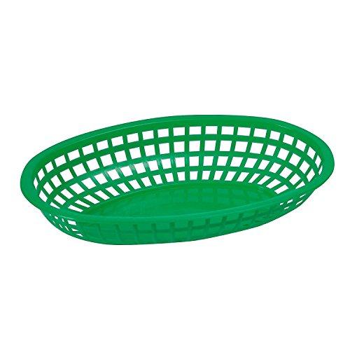 Winco POB-G 10-14 x 6-34 x 2 Green Premium Oval Bread and Fruit Basket Platter Tabletop Serving Display Snacks Baskets 1 Dozen Pack