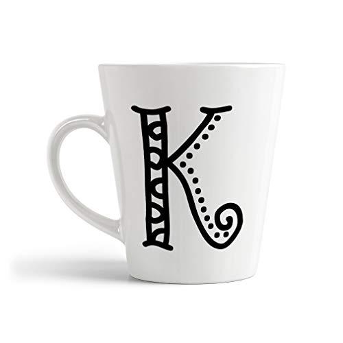 Ceramic Custom Latte Coffee Mug CupK Pattern Initial Monogram Letter K Tea Cup 12 Oz Design Only