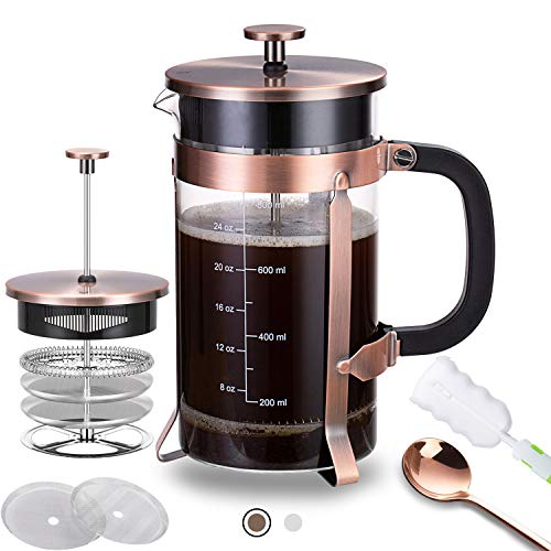 French Press Coffee Maker with 4 Filters - 304 Durable Stainless Steel - Heat Resistant Borosilicate Glass Coffee Pot Percolator Single Serving Coffee Maker 34 oz Brown