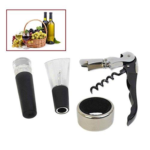 Safstar Wine Tool Gift Set 4 in 1 Stainless Steel Bottle Opener Corkscrew Stopper Pourer