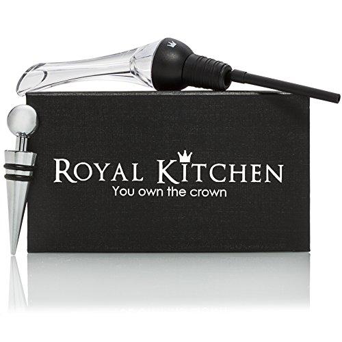 Royal Kitchen Wine Aerator Pourer  Durable Elegant Design Decanter Spout  Dripless Wine Pouring Easy Cleaning  Black Wine Dispenser Bonus Metal Bottle Stopper Ebook  Great Wine Gift Idea