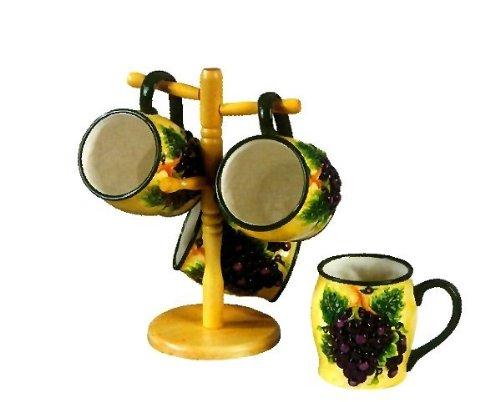 COFFEE MUG SETS TUSCANY GRAPE VINEYARD WINE DECOR