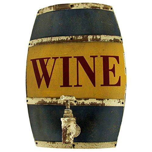 Wood Wine Barrel Keg Steel Hoop Water Tap Sign Bar Pub Wine Cellar Tasting Wall Decor