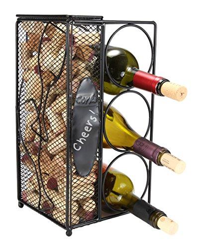 Home-X Keepsake Wine Cork Holder Chalkboard  Write A Note Wine Corks Saver with 3 Wine Bottles Storage Rack