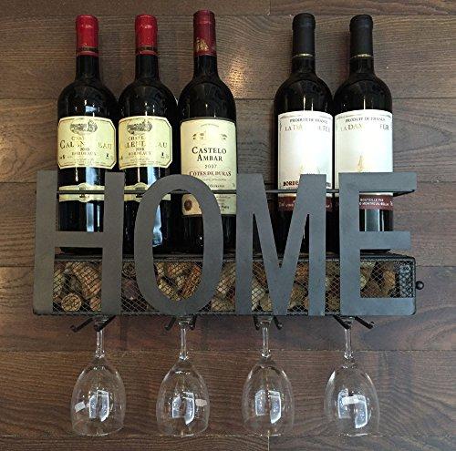 Wall Mounted Metal Wine Rack 4 Long Stem Glass holder Wine Cork Storage By Soduku