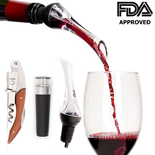 Gaya Wine Accessories Set Bundle with AeratorOxygenator Wine Vacuum Pump and Rosewood Corkscrew Opener
