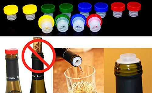 12pc Colorful Slow Wine Pourer Stopper Aerator Saver Slo Vino