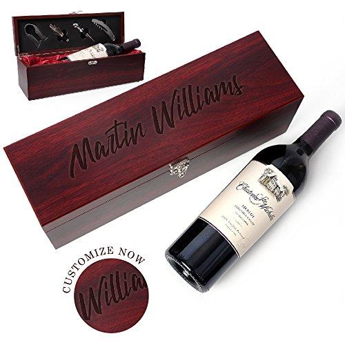 Be Burgundy - Personalized Rosewood Finish Single Wine Box Set with Tools - Wine Presentation Box - Anniversary Ceremony Housewarming Wedding Wine Gift Box Holder - Custom Engraved for Free -1
