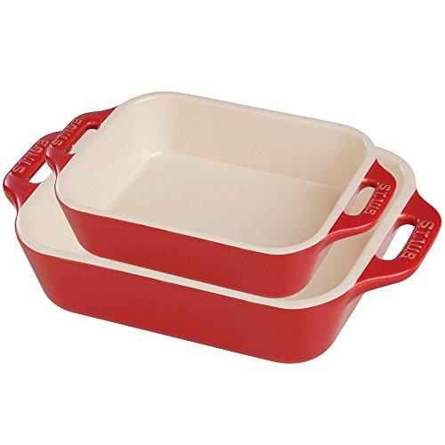 Staub Ceramic Rectangular Baking Dish Set Cherry 2-Piece