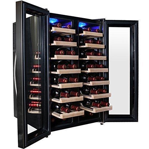 AKDYÂ 32 Bottle Dual Zone Thermoelectric Freestanding Wine Cooler Cellar Chiller Double Door Refrigerator Fridge Quiet Operation