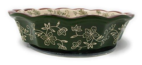 Temp-tations 9 Pie Pan Deep Dish w Glass Trivet Plastic Cover Floral Lace Green