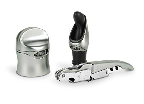 Metrokane Rabbit 3-Piece Zippity Wine Tool Kit Silver