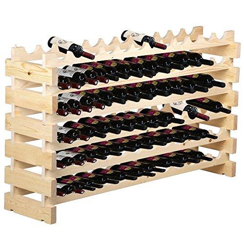 F2C 6 Tier Wood Wine Rack 72 Bottles Wooden Wine Holder Stackable Storage Solid Display Shelves 72 Bottles