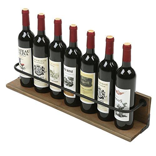 MyGift Wall Mounted Wine Bottle Holder Rack Rustic Liquor Display Shelf Brown