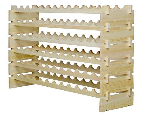 TMS 72 Bottles Stackable Wine Display Storage Rack Pine Wood Alternative to Cellar