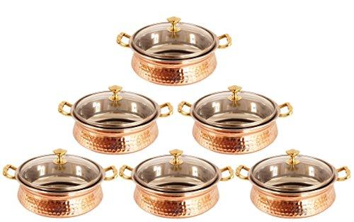 IndianArtVilla Handmade Steel Copper Casserole Dish Serving Food Daal Curry S