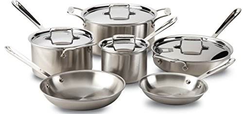 All-Clad BD005710-R D5 Brushed 1810 Stainless Steel 5-Ply Bonded Dishwasher Safe Cookware Set 10-Piece Silver