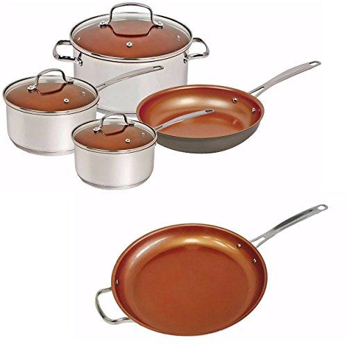 Nuwave Duralon Ceramic 7-Piece Cookware Set w 105 and 12 Frying Pan