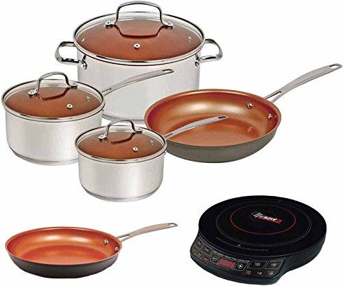 Nuwave Duralon Ceramic Non-Stick 7-Piece Cookware Set w Cook top 10 Fry Pan