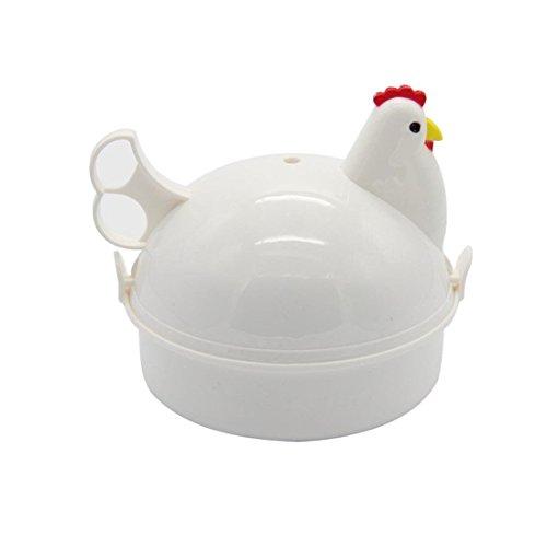 Mochiglory Chicken Shape Microwave Egg Poacher 4 Eggs Boiler Steamer