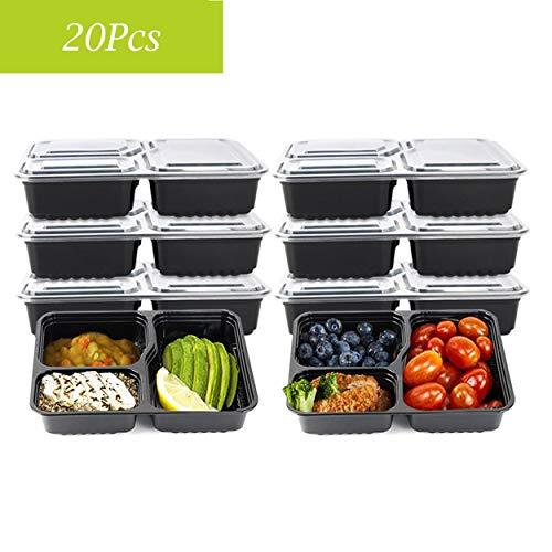 Zervatek 20Pcs 30OZ Meal Prep Containers with Lids Disposable Food Containers 3-Parts Reusable Microwaveable Dishwasher Safe