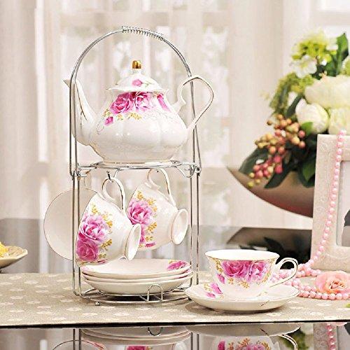 HQLCX European Style Ceramic Coffee Cup Set Korean Tea Flower Tea Set 4 Cups And 4 Dishes A Cup RackB