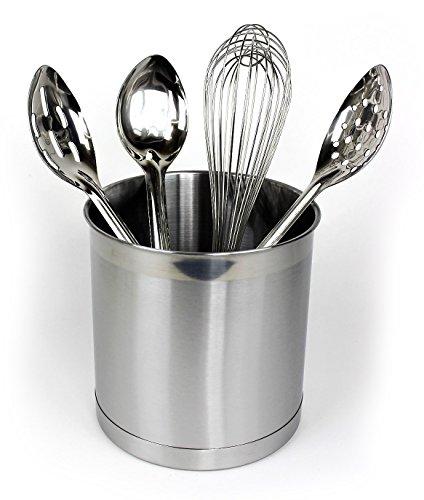 5 Piece Set Jumbo Stainless Steel Utensil Holder with BakeLite Basting Spoons and Whisk