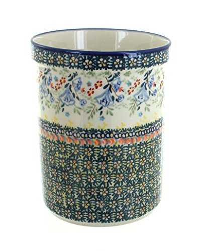 Polish Pottery Periwinkle Utensil Jar