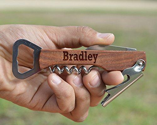Customized Engraved Wood Corkscrew - Personalized Wine Opener - Wooden Beer Bottle Opener - Multi Tool Corkscrew - Wedding Gift