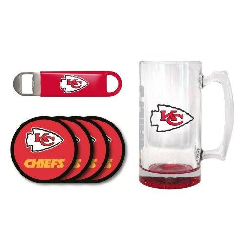 NFL Team Logo Giant Beer Mug Coasters and Bottle Opener Gift Set - 25oz Beer Mug Beverage Set Chiefs