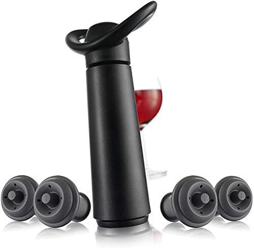 Vacu Vin Inc 987460 Wine Saver Concerto with 4 Stoppers Standard Black