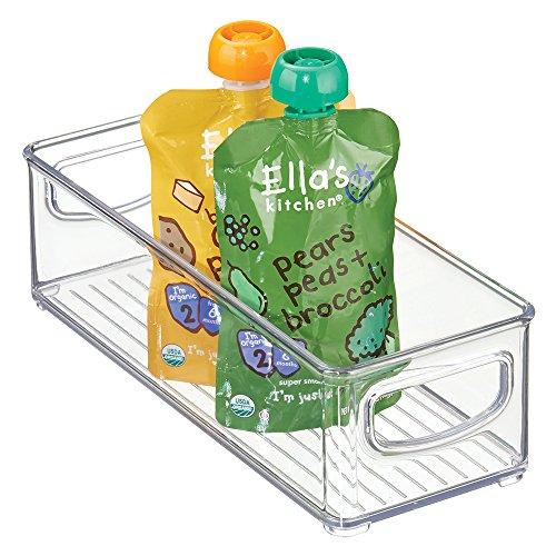 mDesign Baby Food Storage Organizer Bin for Pouches Formula Jars - 10 x 4 x 3 Clear