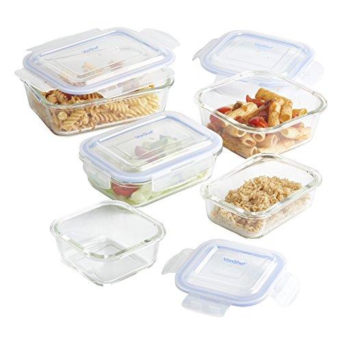VonShef 5-Piece Glass Food Storage Set
