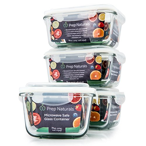 Premium Glass Meal Prep Containers 4-Pack Microwave Freezer Oven safe - Food Storage with SmartestLock Lids Comparable to Glass Tupperware Container Set  by Prep Naturals