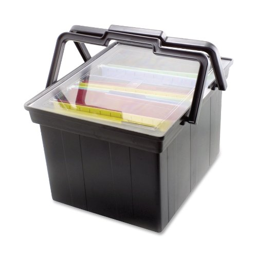 ADVANTUS Companion LetterLegal Portable Plastic File Box Includes Lid and Handles 17 x 14 x 11 Inches Black TLF-2B