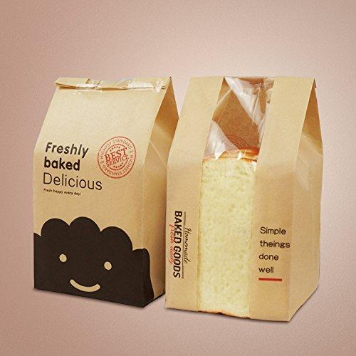 Astra Gourmet Pack of 50 Kraft Food Packaging Paper Bread Bakery Bag with Window
