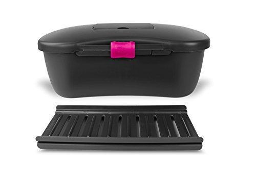 Joyboxx with FREE Playtray and Lock BLACK with PINK LOCK Adult storage case hygienic locking discreet dishwasher safe antimicrobial plastic storage box