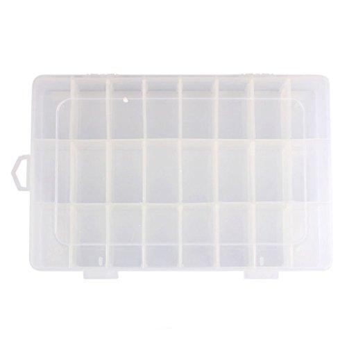 Rukiwa Adjustable 24 Compartment Plastic Storage Box Jewelry Earring Case Clear