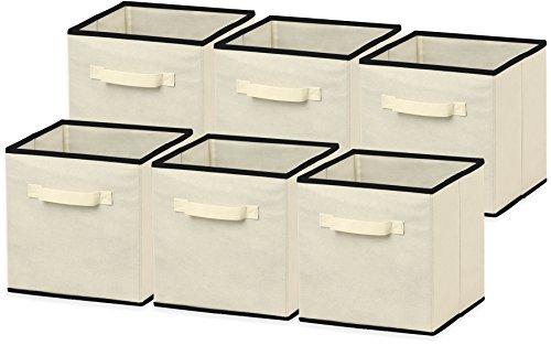 SimpleHouseware Foldable Cube Storage Bin Beige - 6 Pack