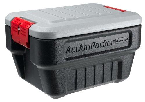 Rubbermaid ActionPacker Lockable Storage Box 8 Gallon Grey and Black 1170