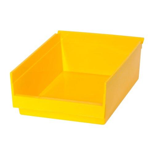 Edsal PB302 Heavy Duty Plastic Bin 8 Width x 4 Height x 12 Depth Yellow Pack of 24