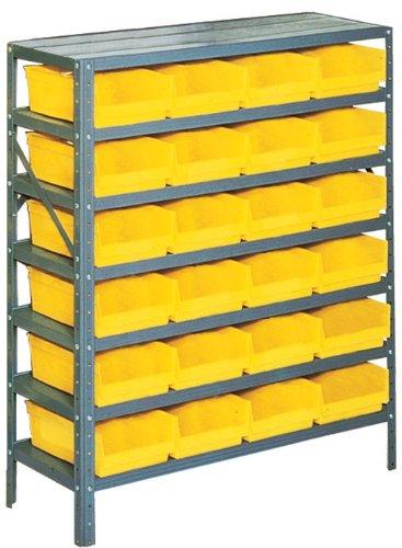 Edsal PB311 Industrial Gray Heavy Duty Steel Shelving Storage Rack with 24 Poly Plastic Bins 36 Width x 42 Height x 12 Depth