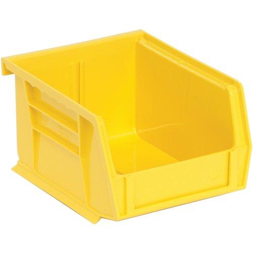 Edsal PB8500Y High Density Stackable Plastic Bin 4 Width x 3 Height x 5 Depth Yellow Pack of 24