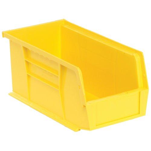 Edsal PB8502Y High Density Stackable Plastic Bin 5 Width x 5 Height x 11 Depth Yellow Pack of 12