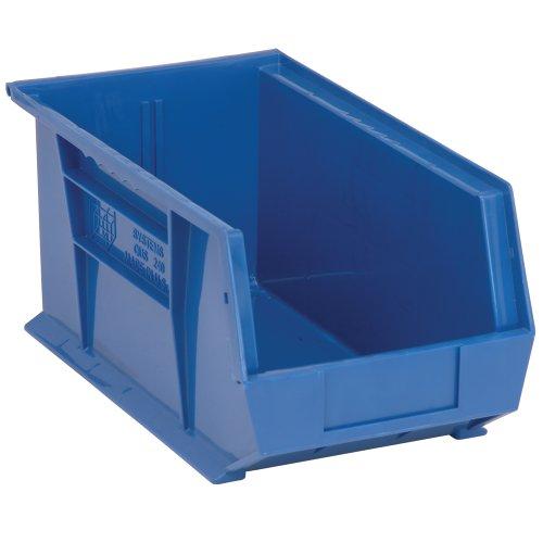 Edsal PB8504B High Density Stackable Plastic Bin 8 Width x 7 Height x 14 Depth Blue Pack of 12